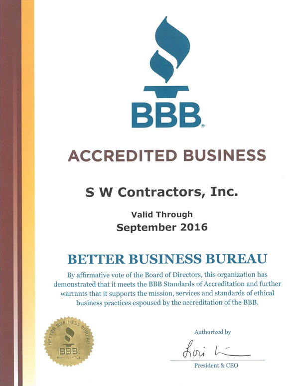 Our Certifications | S.W. Contractors, Inc.
